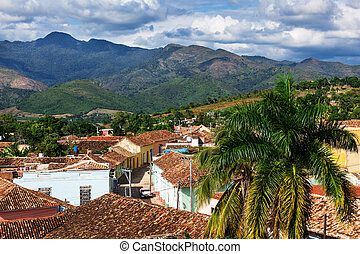 old Trinidad mountains in the background
