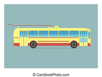 Old trolleybus. Vector illustration. EPS 10, opacity