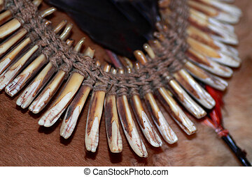 Old trophy chain of animal teeth - It was thought the...