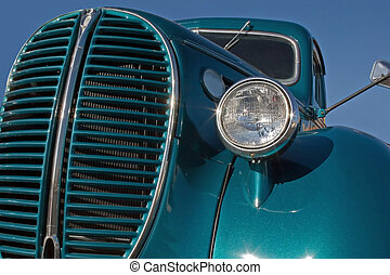 Old truck - A closeup look at the front of an old classic...