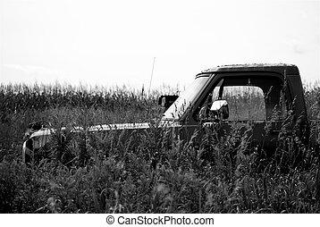 Old Truck in a Field in B&W