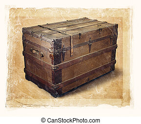 Old Trunk - Grainy and gritty image of an old steamer trunk.