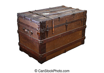 Old trunk - Old, worn and dirty steamer trunk isolated on ...