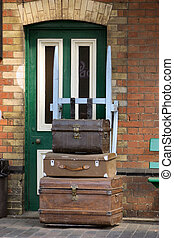 old trunks used on a railway station