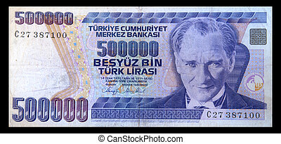 An Old Turkish 500000 Lira Banknote Circa 1993 isolated on black background