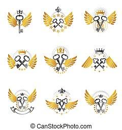 Old Turnkey Keys emblems set. Heraldic vector design ...