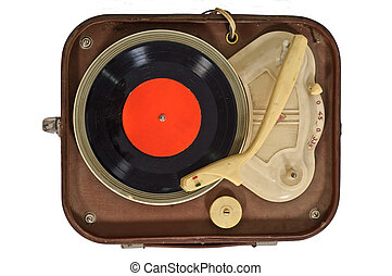 Old turntable with vinyl record, isolated on white background