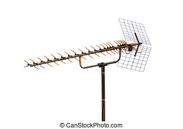 old TV antenna isolated on white background
