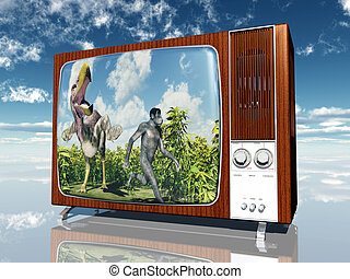 Old time tv  Illustration of an old time tv set on a white