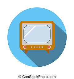 Old TV icon, flat style