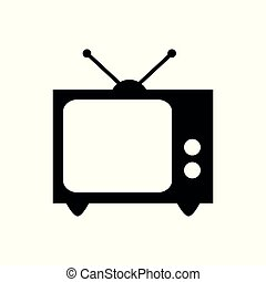 old tv icon isolated on white background