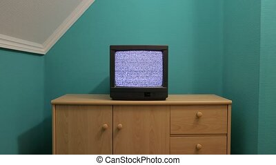 Old TV no signal - No signal just noise on an old TV set in...