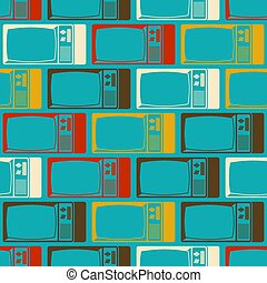 Old TV pattern seamless. Television set retro ornament