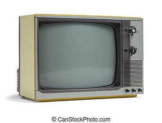 Old TV - Old Television Set with Copy Space Isolated on...