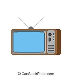 Old TV pixel art. 8 bit Television retro. Vector illustration