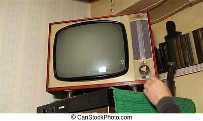 Old TV, retro TV in an old interior. Authentic Static On Old Fashioned TV Screen
