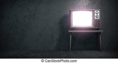 Old TV set on black grunge concrete wall.