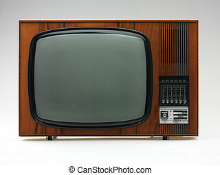 vintage black and white tv on white background, frontal view