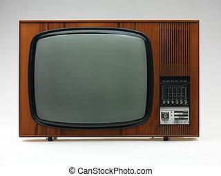 old tv set on white background - vintage black and white tv...