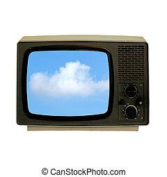 old tv-set showing blue sky