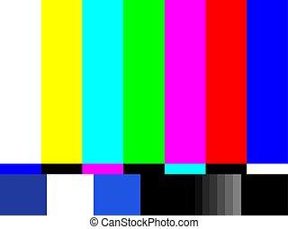 Old tv test screen. Retro no channel signal screensaver. -...