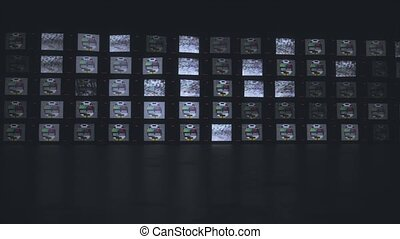 Old Tv wall With Intense Flashing Glitchy No Signal Effect 4k. High quality 4k footage