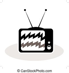 Old TV with antennas cartoon concept