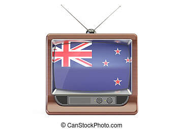 old tv with flag of New Zealand. Television concept, 3D rendering