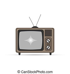Old TV with kinescope, flat design