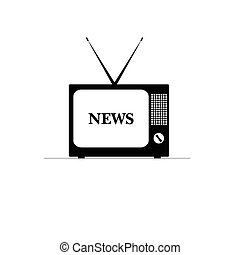 old tv with news on it illustration