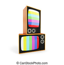Old TV with No Signal TV, Classic Vintage Retro Style old television screen,.old television on a white background 3D illustration