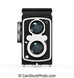 Old Twin Lens Camera isolated on white background. 3D render