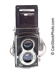 Old twin lens reflex on white background