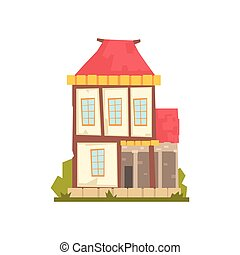 Old two storey house with red roof, retro architecture building vector Illustration