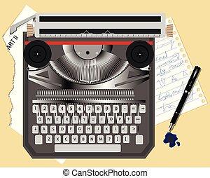 old typewriter and pen