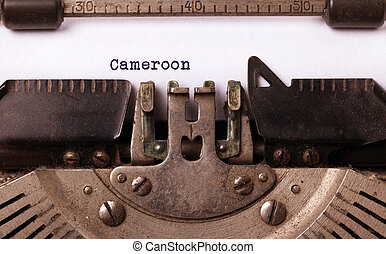 Inscription made by vinrage typewriter, country, Cameroon