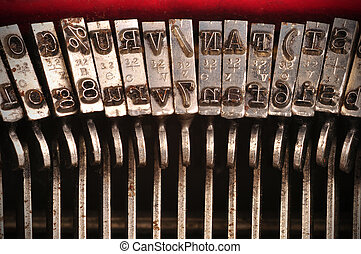 Closeup of an old typewriter's characters