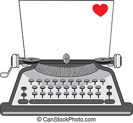 A vintage typewriter with a sheet of paper that has a heart on it