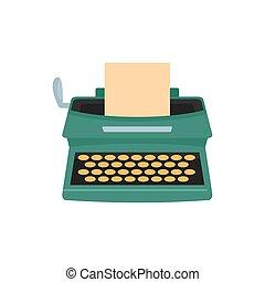 Old typewriter icon, flat style