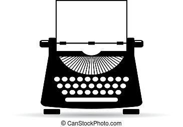 Old typewriter icon - Old typewriter vector icon on white ...