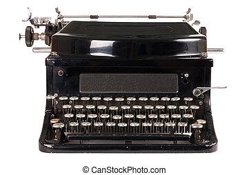 Old typewriter isolated on white background