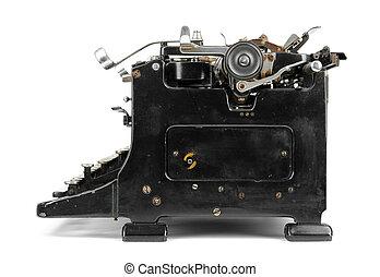 Old typewriter isolated on white