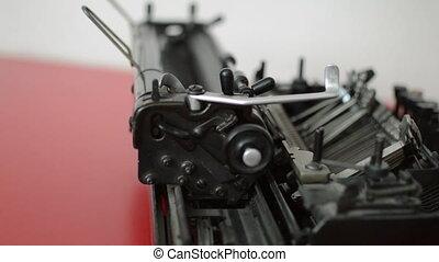 Old typewriter machine detail