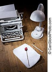 Old Typewriter, Manuscript And Dry Rose