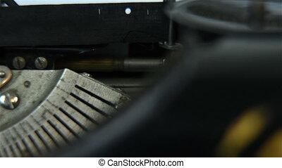 typewriter - old typewriter. Slow motion effect