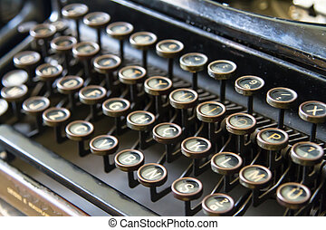 Old Typewriter - Close up view of old typewriter with depth...