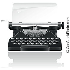 old typewriter vector illustration isolated on white...