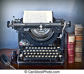 Old typewriter on a wooden desk, with a paper sheet of faded characters, old books, ink and pen with grunge background