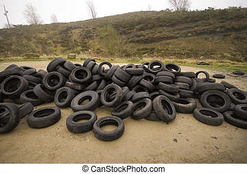 old tyres dumped on the moor - old car tyres dumped on the...
