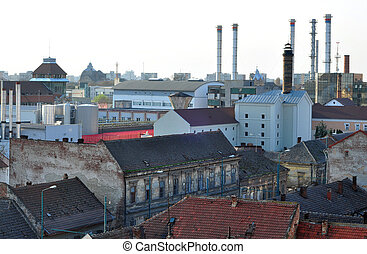 industrial area - Old ugly factory in Timisoara city...